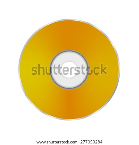 Vector Gold Compact Disc Isolated on White Background.  - stock vector