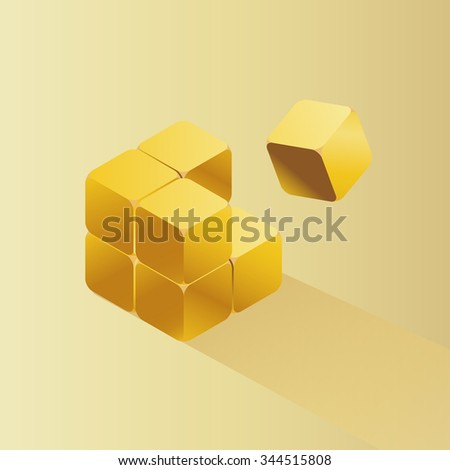 vector gold cube puzzle / modern business infographic template, diagram / quality noble metal / gold bullion