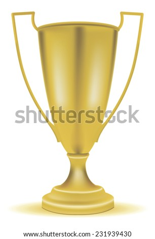 vector gold cup with handles - stock vector