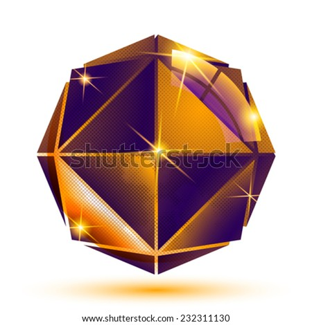 Vector gold 3d futuristic art sparkling object, radiance plastic eps10 construction with dot texture. - stock vector