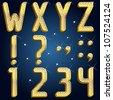 Vector gold diamond font abc Part 3 - stock vector