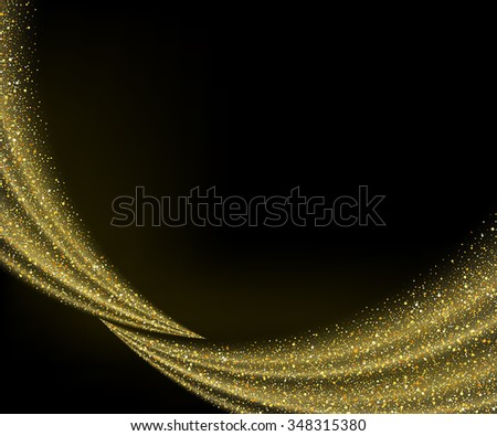 Vector gold dust glitter star wave fireworks abstract black background, design template - stock vector