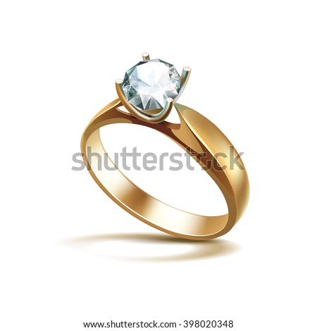 Vector Gold Engagement Ring with White Shiny Clear Diamond Close up Isolated on White Background