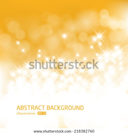 Vector gold festive Christmas background. Elegant abstract background with bokeh defocused lights and stars. - stock vector