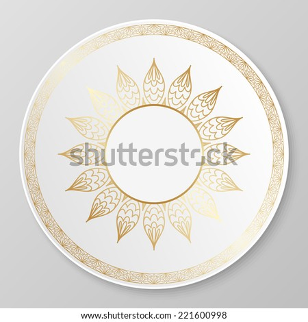Vector gold floral ornament for decorative plate. - stock vector