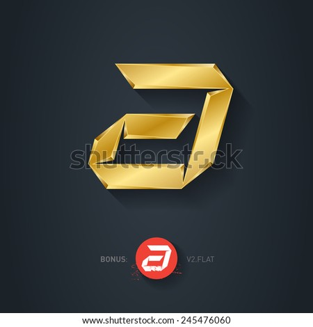 Vector gold font, Letter A. Pseudo origami style, including flat version. Elegant Template for company logo. Metallic Design element or icon. - stock vector