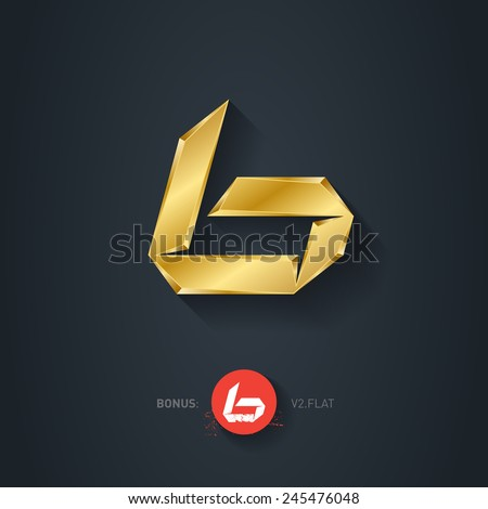 Vector gold font, Letter B. Pseudo origami style, including flat version. Elegant Template for company logo. Metallic Design element or icon. - stock vector