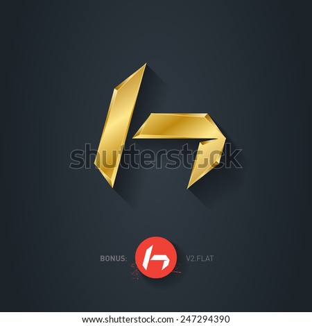 Vector gold font, Letter H. Elegant Template for company logo. 3d Metallic Design element or icon. Pseudo origami style, including flat version. - stock vector