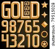 Vector gold font numbers and elements, find the full alphabet by clicking on my portfolio, thank you. - stock photo