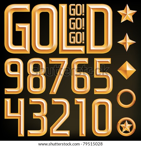 Vector gold font numbers and elements, find the full alphabet by clicking on my portfolio, thank you. - stock vector