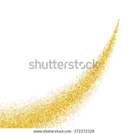 Vector gold glitter abstract background, golden sparkles on white background, design template - stock vector