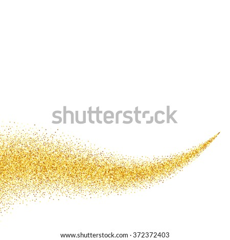 Vector gold glitter abstract background, golden sparkles on white background, design template