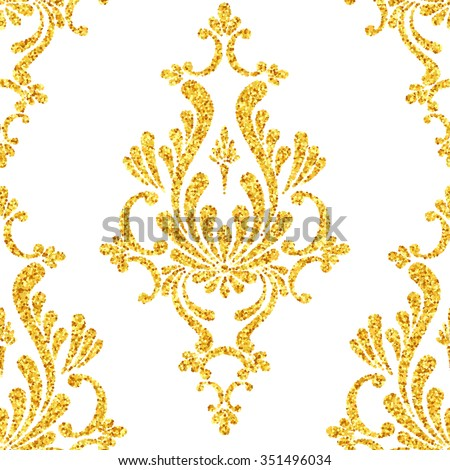 Vector gold glitter damask floral seamless pattern, golden sparkles on white background, vip design template - stock vector