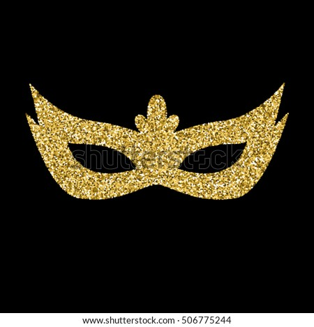 Vector gold  glitter mask isolated on black. Carnival mask.