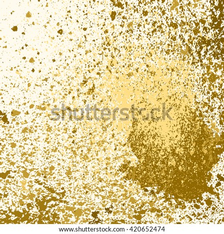 Vector gold glitter paint splash, splatter, and blob on white background. Spray stains placer abstract background, vector illustration. - stock vector
