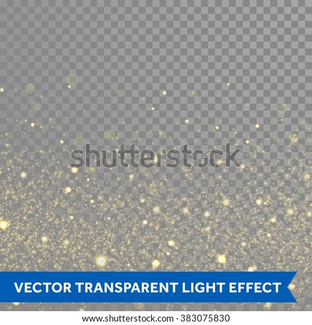 Vector gold glitter particles background effect for luxury greeting rich card. Sparkling texture. Star dust sparks in explosion on black background. - stock vector