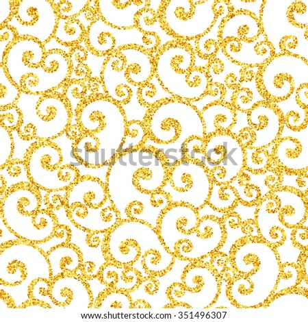 Vector gold glitter swirl seamless pattern, golden sparkles on white background, vip design template