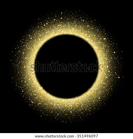 Vector gold glitter wave abstract background, golden sparkles on black background, vip design template