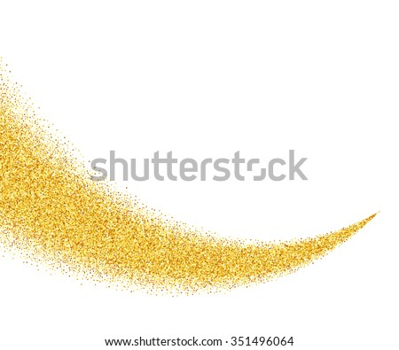 Vector gold glitter wave abstract background, golden sparkles on white background, vip design template - stock vector