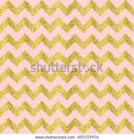 Vector Gold Glittering Confetti Seamless Pattern On Chevron Background And Pink