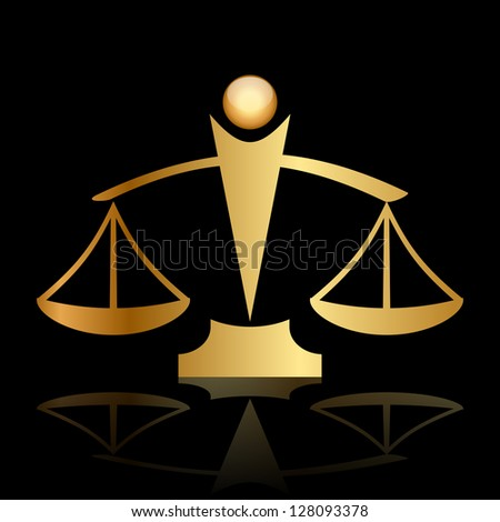 Vector gold icon of justice scales on black background - stock vector