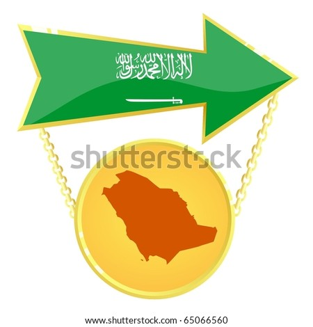 Vector Gold Index with a map of Saudi Arabia - stock vector