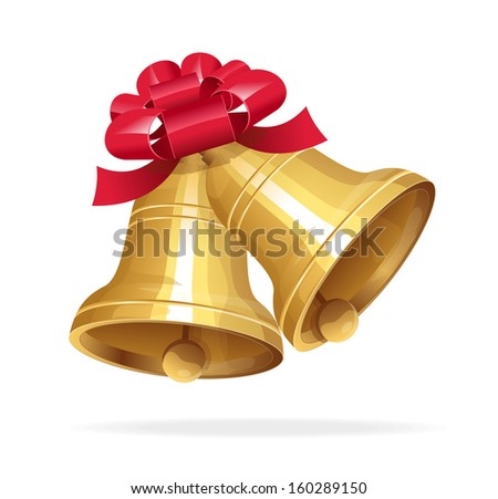 Vector gold Jingle bells with red bow - stock vector