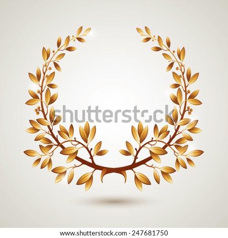 Vector gold laurel wreath. Leaves pattern. EPS 10 - stock vector