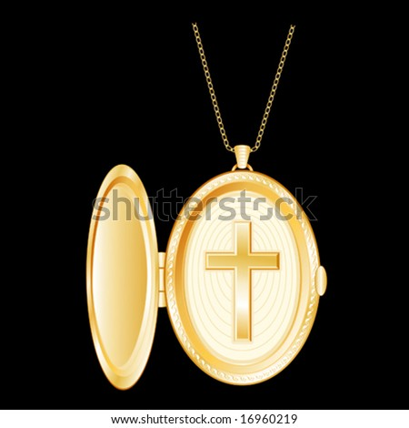 vector - Gold Locket with Engraved Christian Cross, golden chain on a black background, EPS8 organized in groups for easy editing. - stock vector