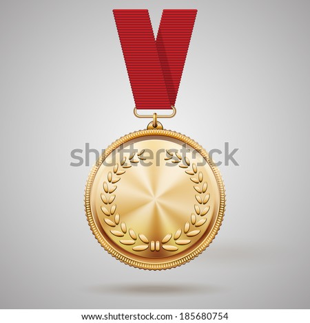 Vector gold medal on red ribbon with relief detail of laurel wreath and reflections conceptual of an award for victory winning first placement achievement or quality on grey background - stock vector