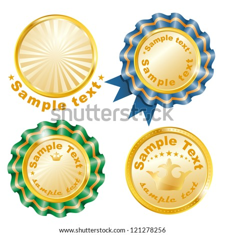 Vector gold medals set. EPS 10 vector illustration.