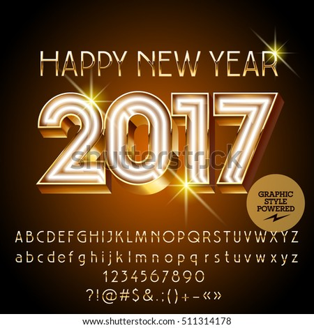 Vector gold neon Happy New Year 2017 greeting card with set of letters, symbols and numbers. File contains graphic styles