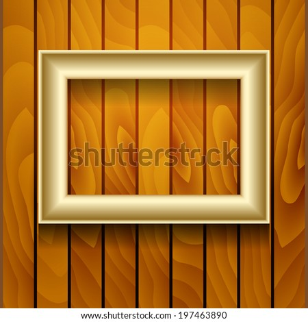 Vector gold picture frame on wooden wall. - stock vector