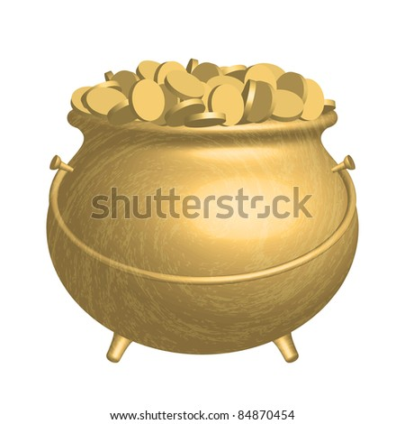 Vector gold pot with coins - stock vector