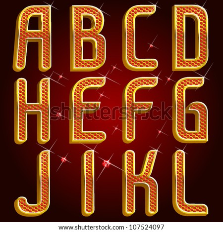 Vector gold ruby font abc Part 1