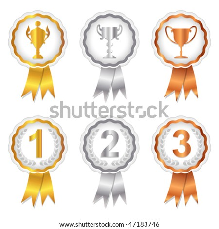 Vector Gold, Silver and Bronze rosette badges with trophy and place numbers for 1st, 2nd and 3rd. JPG and TIFF versions of this vector illustration are also available in my portfolio.