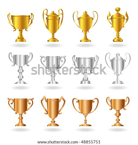 Vector gold, silver and bronze trophies or cups. JPG and TIFF image versions of this vector illustration are also available in my portfolio.