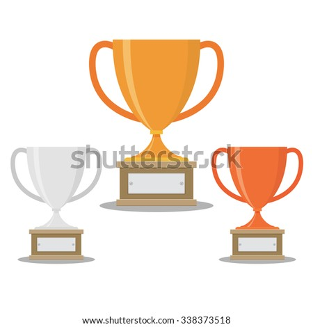 Vector gold, silver and bronze winners cup. - stock vector