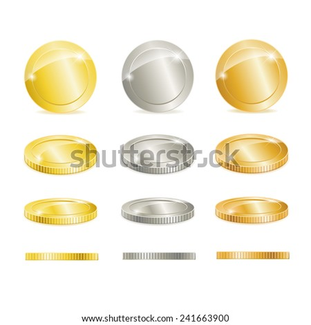 Vector Gold, silver, and copper coins isolated on white - stock vector