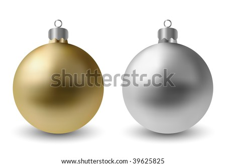 Vector Gold & Silver Baubles - stock vector