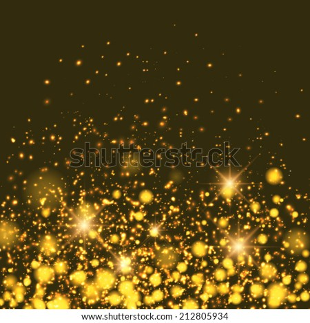 Vector gold sparkle glitter background. Sparkling flow background.