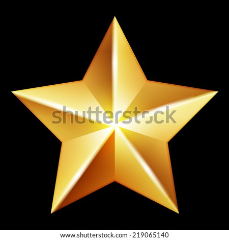 Vector gold star on black background - stock vector
