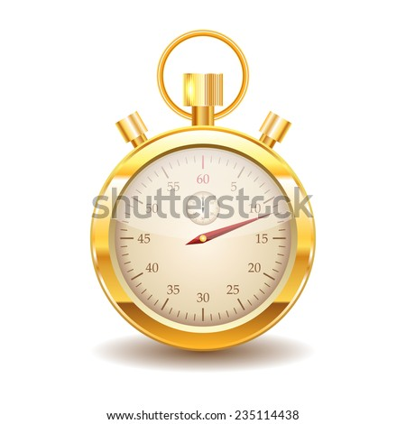 Vector gold stopwatch on white background. Eps10 - stock vector