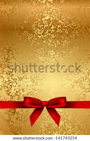 Vector gold texture with red bow - stock vector