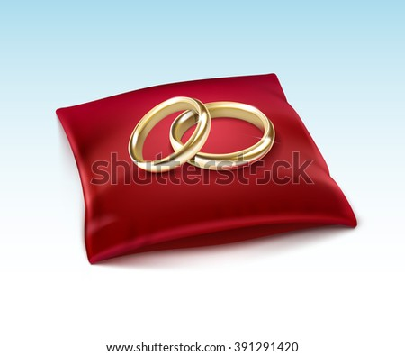 Vector Gold Wedding Rings  on Red Satin Pillow Isolated on White Background - stock vector