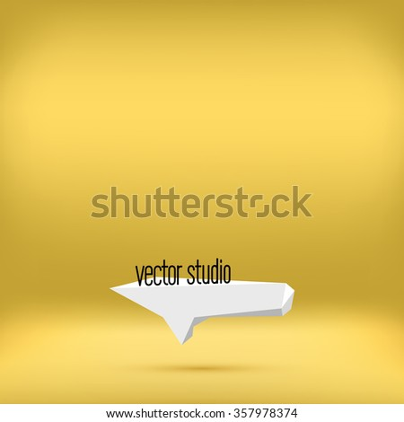Vector gold yellow studio room backdrop background. Empty interior mockup with soft light. Mock up template product display. - stock vector