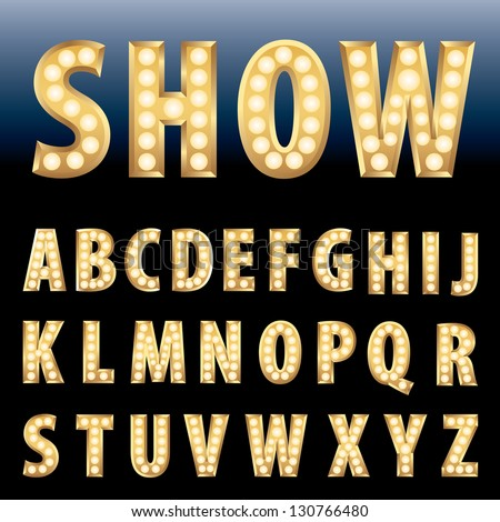 vector golden alphabet with bulb lamps - stock vector