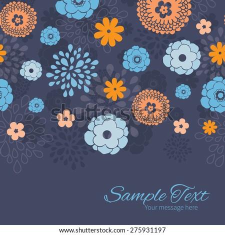 Vector golden and blue night flowers horizontal border card template