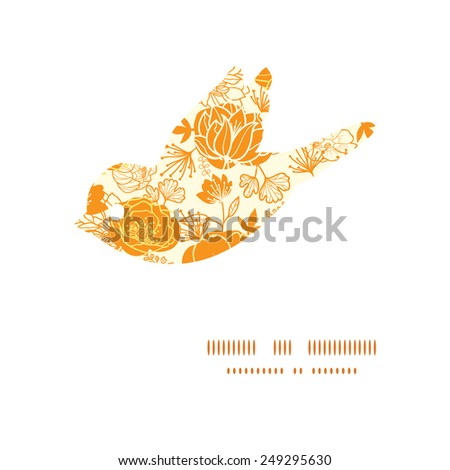 Vector golden art flowers bird silhouette pattern frame - stock vector