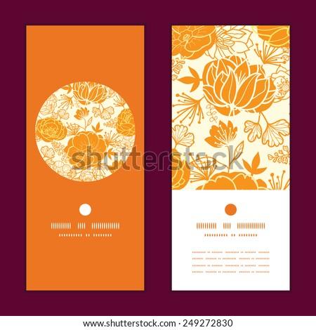 Vector golden art flowers vertical round frame pattern invitation greeting cards set - stock vector